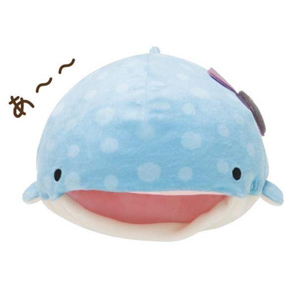 """Shark Pillow aitai☆kuji - san-x """"jinbei-san"""" mr. whale shark open mouth pillow"""