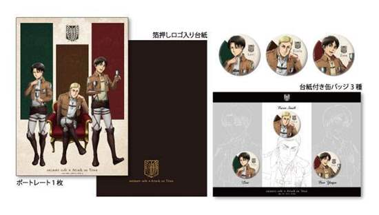 Picture of Attack on Titan Shingeki no Kyojin Animate Cafe Goods Portrait and Can Badges Set