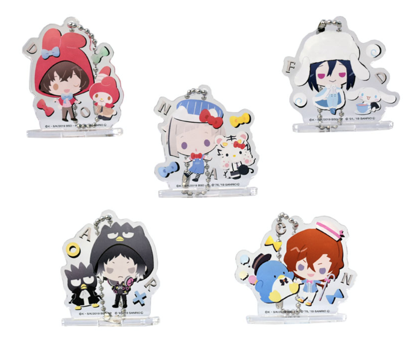 Bungou Stray Dogs x Sanrio Characters Collaboration Goods Chibi Acrylic  Stand Keychains BLIND PACKS