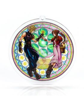 Final Fantasy VII Holley's Art Boutique Stained Glass Acrylic Keychain Aerith and Cloud FANMADE GOODS
