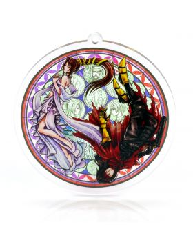 Final Fantasy VII Holley's Art Boutique Stained Glass Acrylic Keychain Vincent and Lucrecia FANMADE GOODS