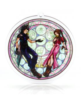 Final Fantasy VII Holley's Art Boutique Stained Glass Acrylic Keychain Aerith and Zack FANMADE GOODS